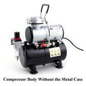 Airbrush mini compressor met luchttank en metalen behuizing